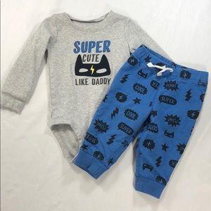 Super Cute Like Daddy Long Sleeve Onesie & Bottoms